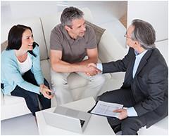 couple meeting with divorce mediator seeking divorce help